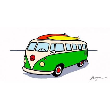 "Carlos Beyon""Peace Wagon"".Quadro Moderno Pulmino Vintage in supporti e misure varie"