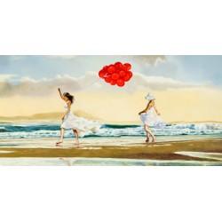 Collecting waves,Pierre Benson - Quadro marina Figurativo con bambine sulla spiaggia. Materiali e misure a scelta