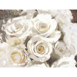 "Nan""Gilded Roses 2"",white roses picture,100x150cm or other sizes Stretched Canvas"