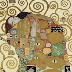 Gustav Klimt - L'Abbraccio Stampa Fine Art su Canvas Misure Multiple per Soggiorno o Camera