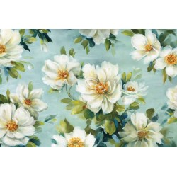 "Lisa Audit""Reflections 1""shabby-New Country style modern stretched canvas with savage white roses"