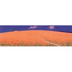"""Antonio Capurso """"Verso il casale"""" quadri moderni colorati paesaggio, misure a scelta"""