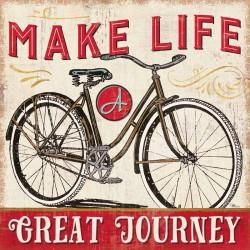 """Pela Studio""""A Great Journey 4""""quadri vintage con bicicletta 70x70 e altre misure in stile new country"""