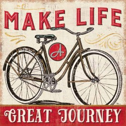 "Pela Studio""A Great Journey 4"" stretched canvas print on 3cm wooden frame with motivational quote and bicycle"