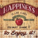 "Mc Rae""Happiness"" stretched canvas print on 3cm wooden frame with promo message and apple"