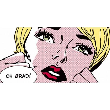 """Sheila B.""""Oh, Brad !"""" quadro fumetto pop art per Soggiorno o Camera da letto-misure a scelta"""