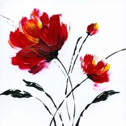 """Nan """"Red Poppy 2"""" quadri moderni papaveri canvas intelaiato pronto 100x100 o altre misure a scelta"""