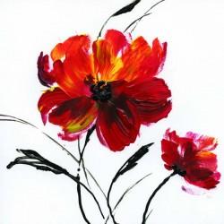 """Nan """"Red Poppy 3"""" quadri moderni papaveri canvas intelaiato pronto 100x100 o altre misure a scelta"""