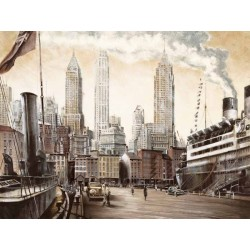 "Daniels""Departure, New York""new york view with cruise ship, HQ Picture for Living or Bedroom"