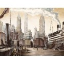 """Daniels""""Departure, New York""""new york view with cruise ship, HQ Picture for Living or Bedroom"""