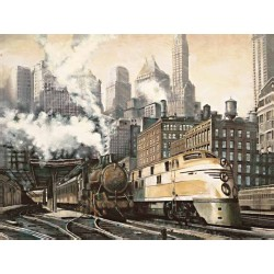 "Daniels""Departure, New York"" train pictures, HQ ready stretched, 3cm high canvas"