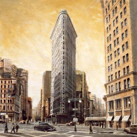 "Daniels ""the Flatiron Building"" stretched canvas print on 3cm wooden frame with famous skyscraper"