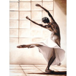 "Young ""Dance Finesse"" immagine d'Autore in verticale con ballerina moderna - Seducente quadro in bianco e marrone"