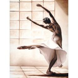 """Young """"Dance Finesse"""" immagine d'Autore in verticale con ballerina moderna - Seducente quadro in bianco e marrone"""