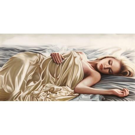 Benson,Sleeping Beauty.Seducente Quadro con Nudo di Donna tra le lenzuola,  Misure e Supporti Vari