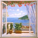 """""""Finestra sul Mare""""Del Missier,quadro con Stampa Fine Art su Canvas o Carta, Misure Varie"""