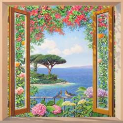 Costa Mediterranea,Del Missier-quadro con Stampa Fine Art su Canvas o Carta, 100x100cm o altro
