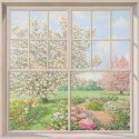 Finestra sul Giardino,Del Missier-quadro con Stampa Fine Art su Canvas o Carta, 100x100cm o altro