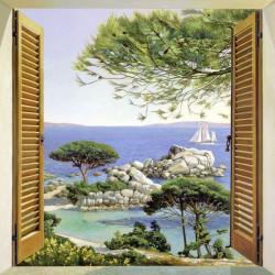 Finestra sul Mediterraneo,Del Missier-quadro con Stampa Fine Art su Canvas o Carta, 100x100cm o altro