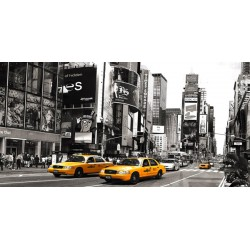 "Anonymous""Taxi in Times Square,NYC"" Art Poster,Canvas o Quadro Finito Artigianale"