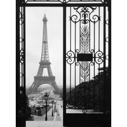 """Eiffel Tower from Trocadero Palace,Paris""Anonymous. Finestra su Parigi / Torre Eiffel. Quadro supporti e Misure Varie"