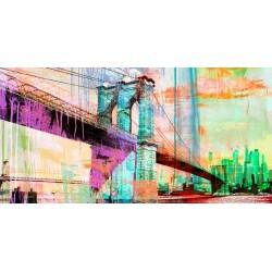 "Eric Chestier ""The Bridge 2.0"" - new york view with famous bridge in a new pop art version"