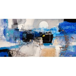 "Pima ""Moonlight"" - Abstract Author's HQ Picture for Home Decor in blue"