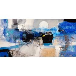 """Pima """"Moonlight"""" quadro astratto d'Autore. Stampa Ufficiale con colori bianco e blu. Supporti HQ e Misure a Scelta"""