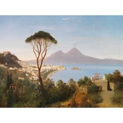 """""""Vista da Posillipo""""August Zimmermann. Quadri Famosi con vista su Napoli e Vesuvio, Misure Varie"""