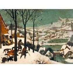 """""""Cacciatori nella Neve"""" Pieter Bruegel The Elder. Quadro Classico con cani, cacciatori e neve, Misure Varie"""