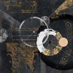 Canone - Arturo Armenti, quadro astratto nero con oro moderno formato quadrato