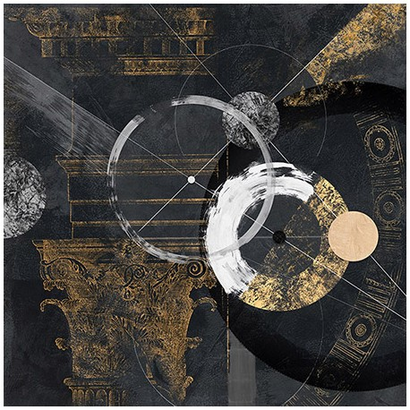 Canone - Arturo Armenti, abstract Fine Art Print with black and gold for interior design