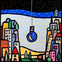 Wallas, M'illumino di Luna.quadri moderni colorati 100x100 o altre misure su canvas o carta