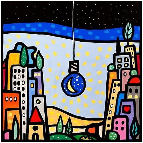 Wallas, M'illumino di Luna - Modern colorful picture with landscape and light-bulb