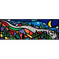 La Lunga Strada Dell'Amore,Wallas-quadro fumetto romantico cm150x50 o altre misure