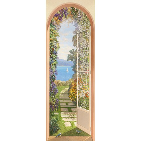 Giardino sul Lago,Andrea Del Missier. Pictorial lake view from a door, over a flowered garden