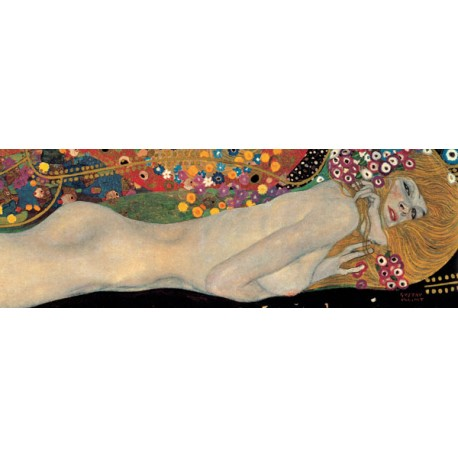 """Gustav Klimt """"Serpenti di Mare 2 (detail)"""" - Quadro Classico Originale per Soggiorno o Capezzale"""