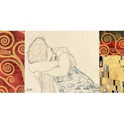 """Gustav Klimt """"Woman Resting""""-Quadro Classico proposto con l'inserimento di 2 fasce laterali per Soggiorno o Capezzale"""