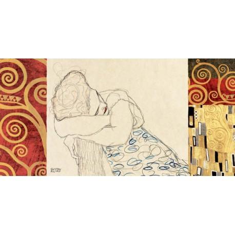 Gustav Klimt-Il Bacio (dettaglio in oro) Stampa Fine Art su Canvas ad alta risoluzione in Misure Multiple per Soggiorno o Camera