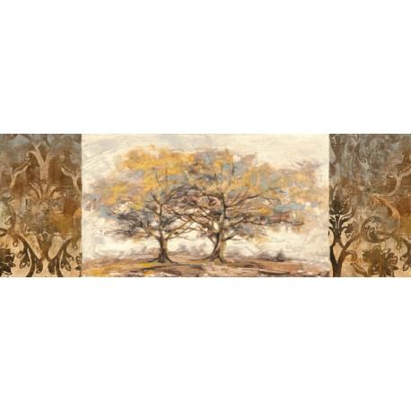 Golden Trees, Lucas -Quadro Moderno con alberi dorati per capezzale o sopra il divano