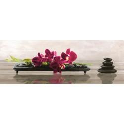 """Shin Mills """"Elevate"""". Quadro shabby con orchidee e sassi Zen per divani, capezzali o caminetti. extra-largo"""