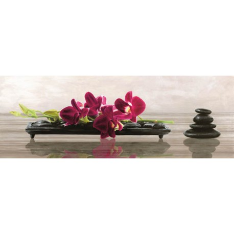 "Shin Mills ""Elevate"", horizontal Picture for living or bedroom with stones and orchids in a Shabby Style"