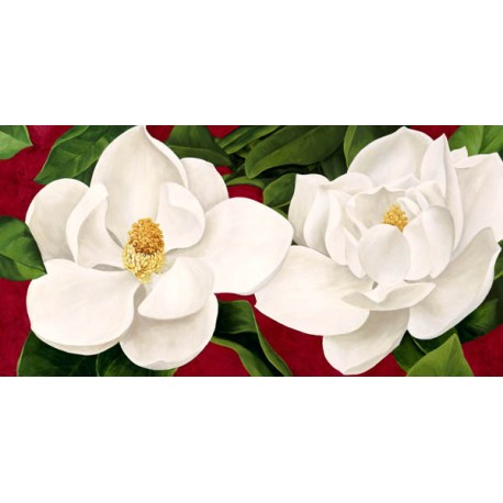 """Luca Villa """"Magnolie in fiore"""". Charming white magnolias picture over passion red ground, for Home Decor"""