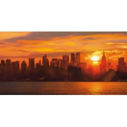 "Shaun Green ""Sunset over Manhattan"" quadri moderni tramonto su new york per salotto o camera"