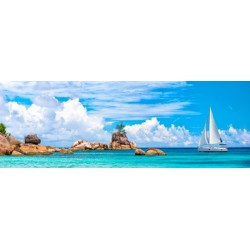 Pangea Images Sailboat at La Digue, Seychelles quadro fotografico su canvas