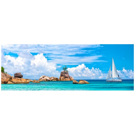 Pangea Images Sailboat at La Digue, Seychelles photopicture on high quality canvas