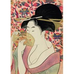 Utamaro Kitagawa Courtesan Quadro Pronto con Stampa Fine Art