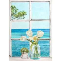 "Dellal ""Sea view from window 2"", Marine Diptych Picture for domestic use"