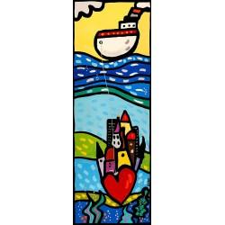 Amori 1, Wallas -quadri moderni fumetto con cuori cm150x50 o altro, verticali