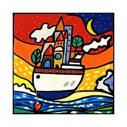Wallas, Navigare con Amore.quadri fumetto colorati 100x100 o altre misure su canvas o carta